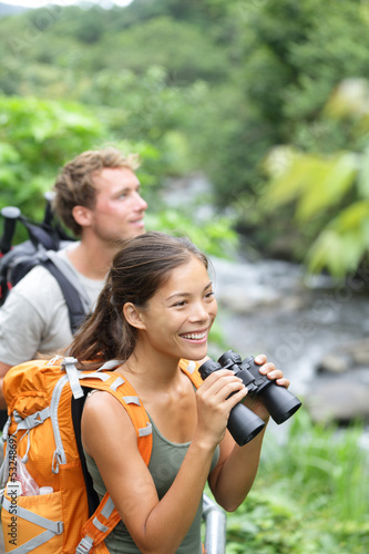 Hiking couple of hikers in outdoor activity