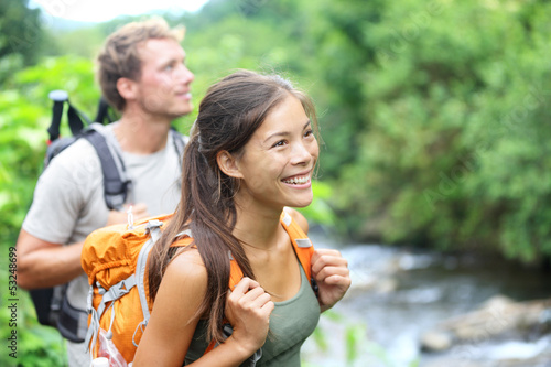 People hiking - happy hiker couple on Hawaii