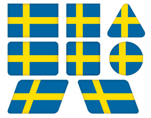 set of buttons with flag of Sweden
