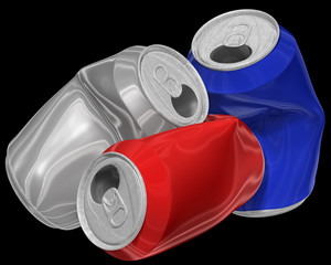 Three dimensional image of crumpled aluminum cans.