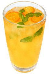 Citrus cocktail with orange juice and slice kumquat