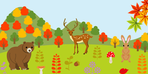 Animals in autumn forest