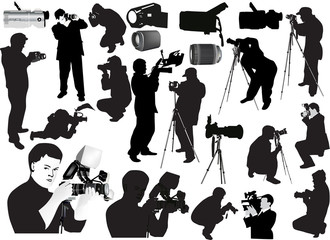 illustration with photographers and equipment