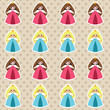 Seamless tender polka dot pattern with cute little princesses