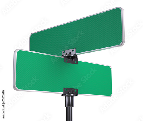 blank road signs isolated on white