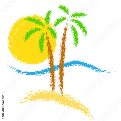 Tropical palms on island with sea. Vector logo.