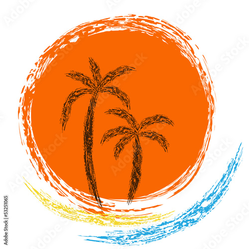 Vector logo. ocean waves, palm trees and sun