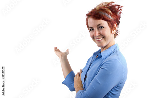 young redhead waitress on white background