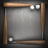 Baseball and metal wall background