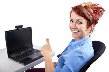 young woman on computer with webcam