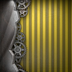 gear wheels on yellow background