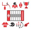 american football icon set red