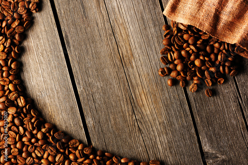 Poster Coffee beans and bag background
