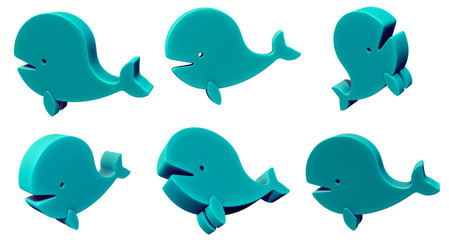 Toy whale 3d set isolated on white