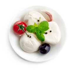 italian cheese mozzarella plate with leaf basil