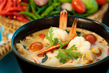 Tom Yum Goong - Thai hot and spicy soup with shrimp - Thai Cuisi
