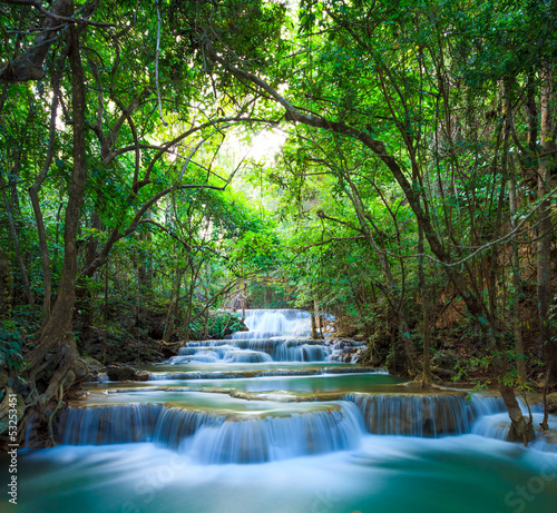 Deep forest Waterfall in Kanchanaburi, Thailand