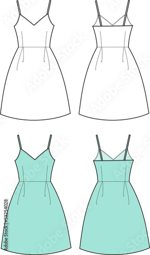 Vector fashion illustration of romantic summer dress