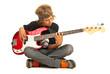 Leinwandbild Motiv Teen boy playing bass quitar