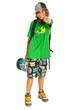 Cheerful teen with skateboard