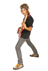 Teen boy rocker with bass guitar