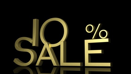 3d letters forming ten percent symbol and the word sale