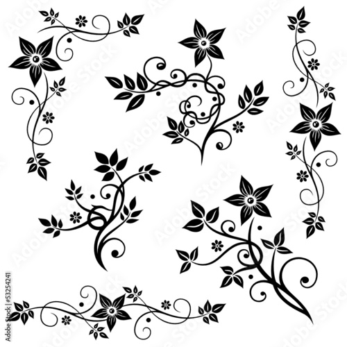 Blumen, Blätter, Ranken, vector set black