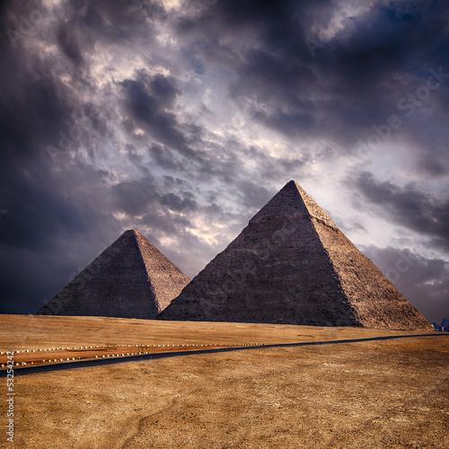 Poster Giza pyramids in Cairo Egypt