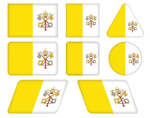 set of buttons with flag of Vatican