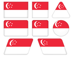 set of buttons with flag of Singapore