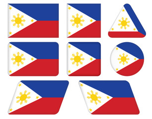 set of buttons with flag of Philippines