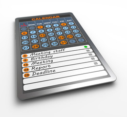 Calendar on tablet computer