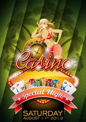 Vector illustration on a casino theme with sexy girl.