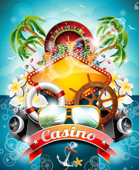 Vector illustration on a casino theme with roulette wheel