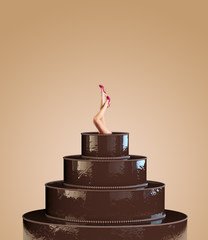 chocolate cake and pin-up female legs