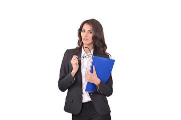 женщина с синей папкой