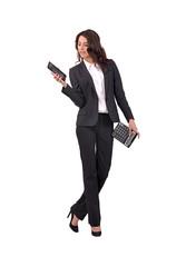 девушка с графическим планшетом и калькулятором