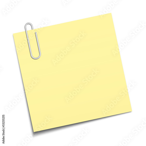 Sticky note clipped with a paperclip