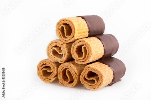 Chocolate Waffle Cookies on white background