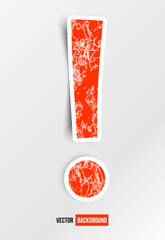 Vector exclamation mark. Red and white sign