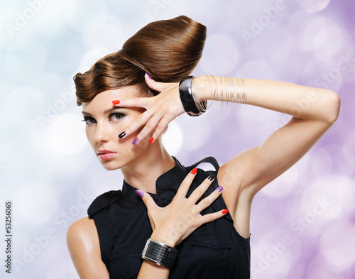 Beautiful glamour girl with creative hairstyle