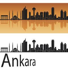 Ankara skyline in orange background