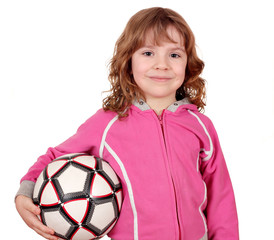 beautiful little girl with soccer ball