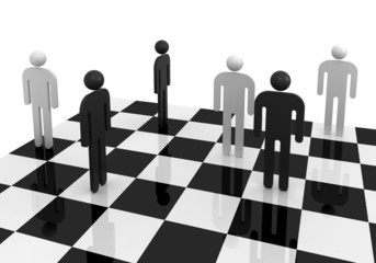 Black and white abstract people stand on chessboard