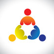 Concept vector graphic- colorful threesome children playing icon