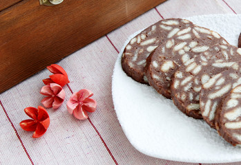 Chocolate salami with biscuits