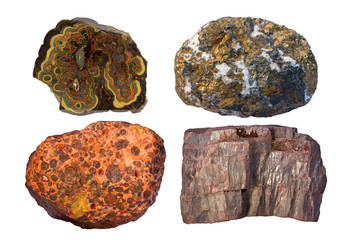 Ores of zinc and lead (upper left), copper (upper right), alumin