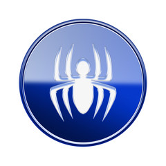 Virus icon glossy blue, isolated on white background