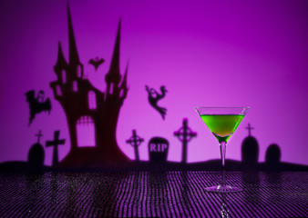 Green Martini in Halloween setting