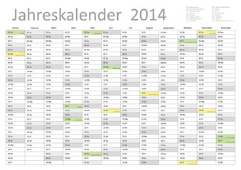 Kalender 2014 Jahresplaner Jahreskalender alle Feiertage